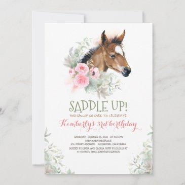 little horse pink floral birthday invitation