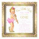 little lady girls 1st birthday party pink gold invitations