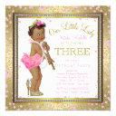 little lady girls 3rd birthday party ethnic girl invitation
