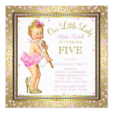 Small Little Lady Girls 5th Birthday Party Pink Gold Invitations Front View
