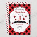 little lady ladybug birthday any age polka dot invitation