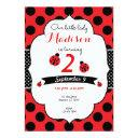 little lady ladybug birthday polka dot invitations