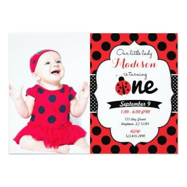little lady ladybug first birthday invitations