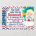 little lady liberty 4th of july birthday glitter invitation