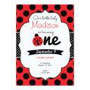 little ladybug first birthday polka dot invitations