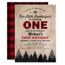 little lumberjack 1st birthday party invitation