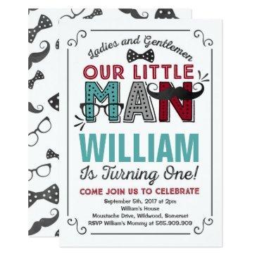 little man 1st birthday invitations mustache party