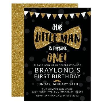 little man birthday invitation, black & gold invitation