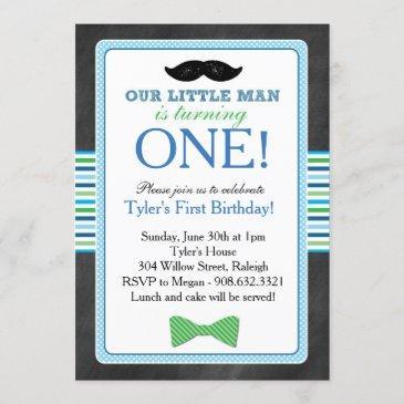 little man bow tie and mustache birthday (blue) invitation