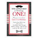 little man bow tie and mustache birthday (red) invitation