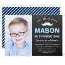 little man chalkboard mustache 1st birthday party invitations