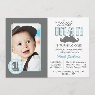 little man first birthday mustache blue grey photo invitation