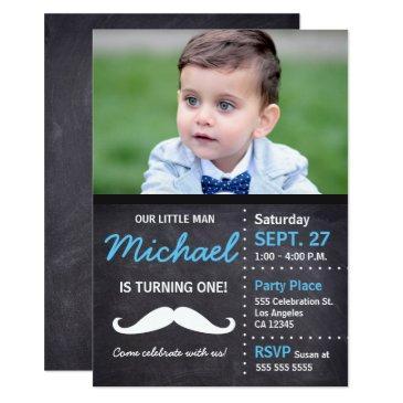 little man is turning 1 | birthday mustache theme invitation