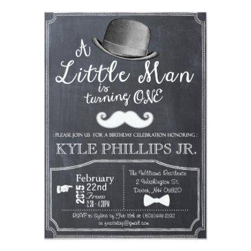 little man lil man 1st first birthday invitations