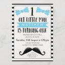little man mustache 1st birthday invitation