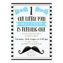 little man mustache 1st birthday invitations