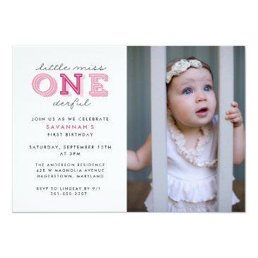 little miss onederful 1st birthday photo invitation