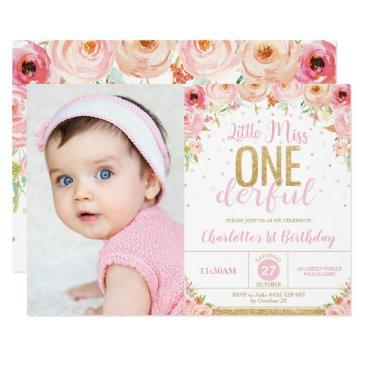 little miss onederful floral 1st birthday photo invitation