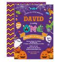 little monster 1st birthday party halloween theme invitation