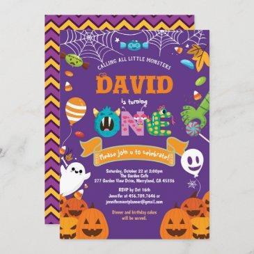 little monster 1st birthday party halloween theme invitation