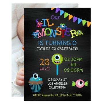 little monster any age photo birthday chalkboard invitation