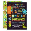 little monster boys 2nd birthday monster party invitation