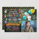 little monster chalkboard 1st & 3rd joint birthday invitation