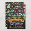 little monster chalkboard 2nd birthday invitation