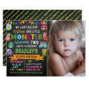 little monster chalkboard 2nd birthday photo invitation