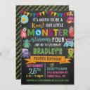 little monster chalkboard 4th birthday invitation