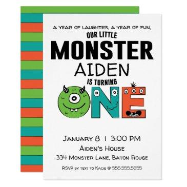 little monster first birthday invitation
