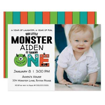 Little Monster First Birthday Photo Invitations