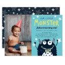 little monster kids birthday party photo invitations