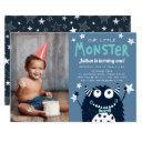 little monster kids birthday party photo invitation