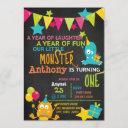 little monster turning one birthday invitation