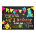 little monster turning one birthday invitations
