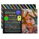 little monsters chalkboard custom photo birthday invitations