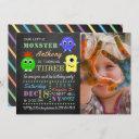 little monsters chalkboard custom photo birthday invitation