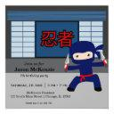 little ninja birthday theme invitations