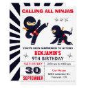 little ninja warrior kids birthday party invitation