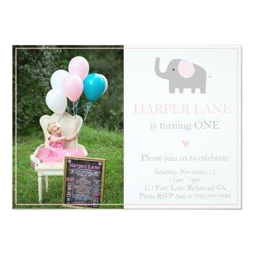 little pink and grey elephant birthday invitations