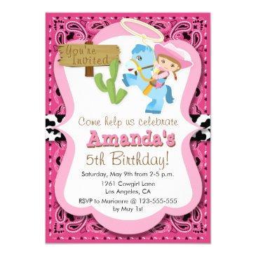 little pony cowgirl birthday party invitaiton invitation
