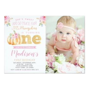 Small Little Pumpkin 1st Birthday Invitation With Photo Front View