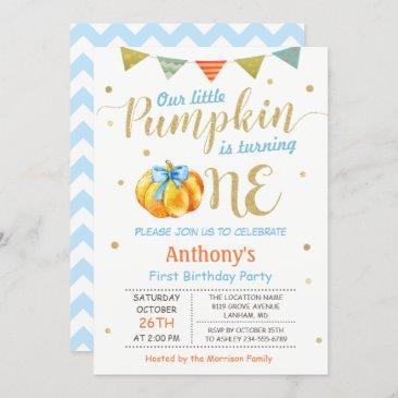 little pumpkin baby boy first birthday party invitation