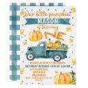 little pumpkin blue truck 1st birthday invitation