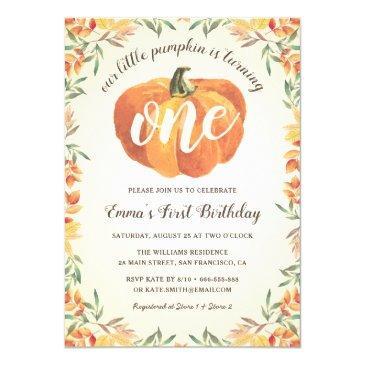 little pumpkin fall autumn first birthday party invitation