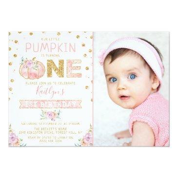 Small Little Pumpkin Girls 1st Birthday Photo Invitation Front View