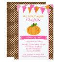 little pumpkin pink orange bunting girl birthday invitations