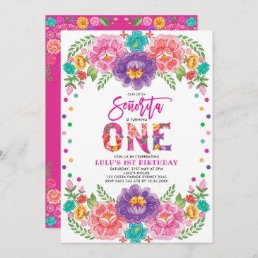 little senorita mexican fiesta floral 1st birthday invitation