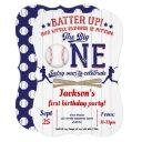 little slugger, baseball, boy, first birthday invitation